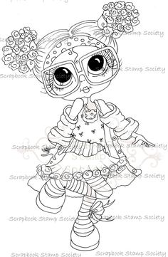 INSTANT DOWNLOAD Digital Digi Stamps Big Eye Big Head Dolls My