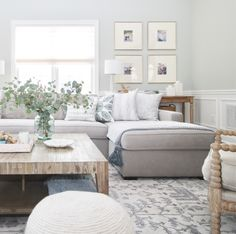 neutral modern farmhouse living room decor with rustic coffee table decor, wall gallery and gray sectional sofa, neutral family room decor Coastal Living Rooms, Living Room Grey, Living Room Modern, Rugs In Living Room, Living Room Designs, Living Room Decor, Small Living, Living Spaces, Design Apartment