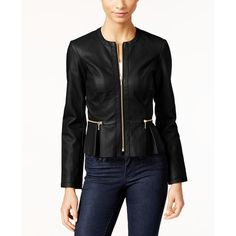 Inc International Concepts Macy's Faux-Leather Peplum Moto Jacket, featuring polyvore, women's fashion, clothing, outerwear, jackets, deep black, vegan leather motorcycle jacket, synthetic leather jacket, rider jacket, peplum jackets and fake leather jacket
