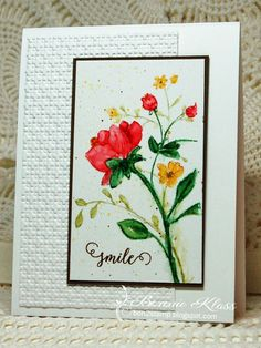 Bonnie Klass:  Altenew Botanical Gardens; Penny Black Happy Snippets; Stampin' Up embossing folder, ink, and markers