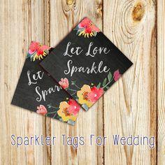 """Chalkboard """"Let Love Sparkle"""" Digital Printable Sparkler Tags- DIY Wedding Sparkler Sendoff Tags~ """"Chalkboard Garden"""" Instant Download by FoxyPrintables on Etsy"""