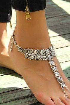 "Alloy anklet with floral design. 11"" long with 2"" adjustable."