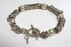 Silver Links and Pearl Bracelet Made in Canada by LinksLocks, $25.00