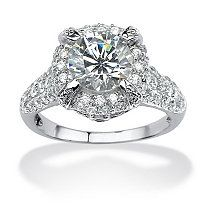 5.73 TCW Oval Cut Cubic Zirconia Platinum Over Sterling Silver Ring at PalmBeach