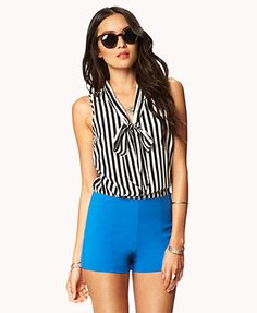 Essential Striped Tie-Front Top - forever 21 $15.80