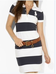 Ralph Lauren Blue Yellow White Big Pony Women Dress