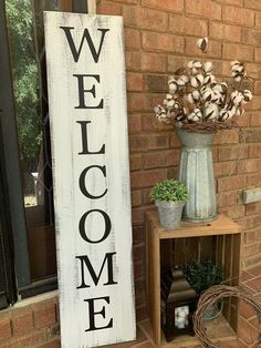 Front Door Decor Discover 4 Distressed White Welcome Porch Sign Vertical Porch Sign Farmhouse Porch Decor Vertical Porch Sign Farmhouse Sign Rustic Porch Decor Farmhouse Front Porches, Small Front Porches, Farmhouse Signs, Rustic Farmhouse, Farmhouse Outdoor Decor, Country Porches, Rustic Wood, Country Porch Decor, Rustic Porches