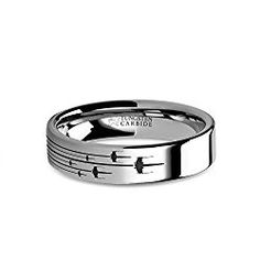 Thorsten Wolf Track Prints Animal Tracks Wolf Print Black Flat Tungsten Ring 4mm Wide Wedding Band from Roy Rose Jewelry