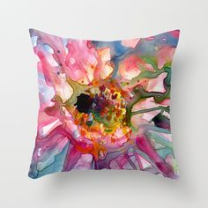 Sunflower Watercolor Throw Pillow Cover by YevgeniaWatts on Etsy, $37.00