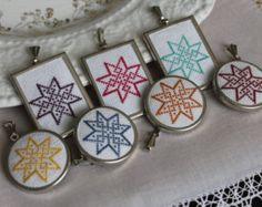 Personalized necklace || Custom color pendant  || Embroidered pendant necklace || Ukrainian embroidery || Starburst design