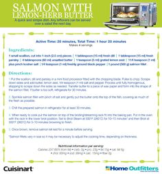 Salmon with Lemon Herb Butter Enter to Win: Cuisinart Daily Giveaways Herb Butter, Lemon Butter, Convection Oven Recipes, Cooking Time, Cooking Recipes, Canadian Contests, Steam Recipes, Lemon Herb, Enter To Win