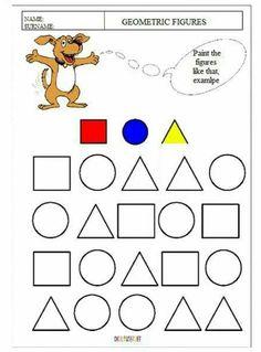 Geometry Worksheets For Kindergarten Kindergarten Science, Kindergarten Worksheets, Free Preschool, Preschool Activities, Law Of Sines, Spanish Colors, Geometry Worksheets, Math Problem Solving, Figure Painting