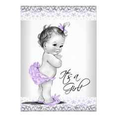 Purple Lavender and Grey Child Woman Bathe Card. *** Learn more at the photo link