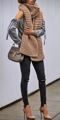 Sasha Simon + must-have Spring outfit + distressed skinnies + nude stilettos + matching cable knit scarf + bow-detailed shoulderless long sleeved top.   Scarf: I Love Mr Mittens.