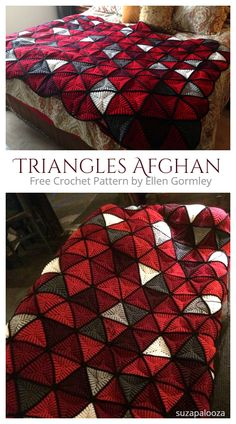 3D Triangle Blanket Free Crochet Pattern + Video - DIY Magazine Crochet Triangle Pattern, Crochet Bedspread Pattern, Afghan Crochet Patterns, Crochet Motif, Free Crochet Square, Crochet Squares Afghan, Crochet Crafts, Easy Crochet, Triangle 3d