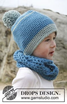 "Gorro y cuello DROPS a ganchillo, en ""Nepal"". ~ DROPS Design"