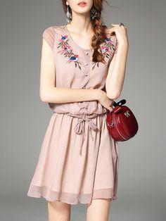 Apricot Casual A-line Mini Dress
