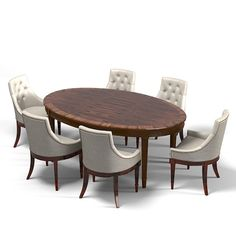 3ds max galimberti nino oval - galimberti nino oval dining table tufted chair art deco set by shop3ds