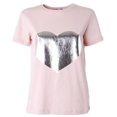 MSGM Heart printed cotton t-shirt ($111) ❤ liked on Polyvore featuring tops, t-shirts, pink, pink t shirt, heart tee, cotton t shirt, round neck t shirt and heart tops