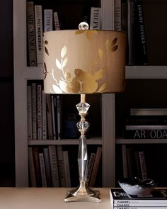 Golden Leaf Table Lamp has an optic-glass base with antiqued brass accents. Silk shade with gold-leaf accenting. Such a beautiful lamp. Burlap Lampshade, Lampshades, Rustic Lamp Shades, Bedroom Lamps, Leaf Table, My New Room, Desk Lamp, Table Lamps, Gold Leaf