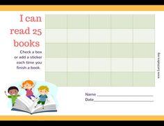 Read 25 Books Kids Reading Chart Border