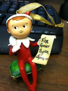 Elf on the Shelf Christmas Ornament-customized with kid's names