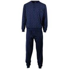 Kleine lichtende puntjes op donkere heren pyjama met kleur Ebony -