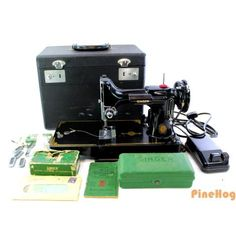 For Sale: Vintage SINGER Featherweight Sewing Machine Cat. 3-120 with Case Pedal and More