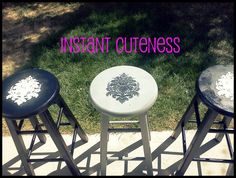 super cute stenciled bar stools