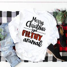 long sleeve flithy animal christmas shir on Mercari Ugly Christmas Sweater, Christmas Vinyl, Christmas Clothes, Christmas Pajamas, Christmas Presents, Earl Sweatshirt, Merry Christmas Ya Filthy Animal, Vinyl Shirts, Diy Shirt