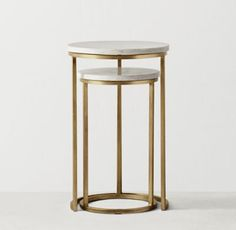 RH TEEN's Serena Nesting Side Tables:Exquisite design and exacting fabrication make for a perfect pair. Our nesting tables