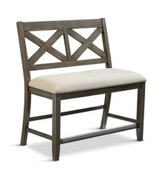 The Omaha Grey Dining Bench features a double X back detail and upholstered seat. White Dining Room Chairs, Patio Dining, Dining Bench, Counter Height Bench, Bar Bench, Ashley Furniture Chairs, Furniture Sale, Diy Bar Stools, Teal Accent Chair