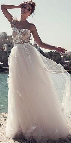 Alluring Tulle   Lace One Shoulder Neckline A-line Wedding Dresses With  Handmade Flowers. Tylové SukněZásnubyKrajkové Svatební ... d29a9e0c6d
