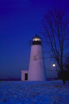Moonset at Turkey Point Lighthouse ~~ Maryland... - iWitness Weather Photos and Video Photo
