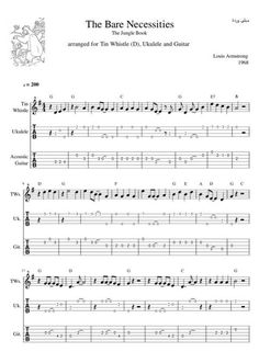 The Bare Necessities The Jungle Book Louis Armstrong sheet music and tabs Tin whistle, Ukulele and Guitar PM for full sheet Ukulele Tabs Songs, Ukulele Fingerpicking Songs, Cool Ukulele, Uke Tabs, Fingerstyle Guitar, Guitar Songs, Banjo Tabs, Guitar Tips, Bass