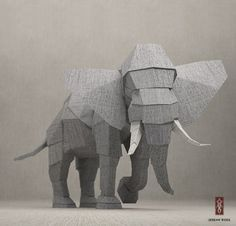 """elephant - fabric-textured 3d animal model """"Texstyle Creatures"""" by Jeremy Kool – 3D (CG) Animals That Look Like They Are Made of Fabric"""