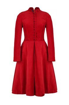 Rasputin dress coat in red velvet by Lena Hoschek