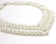 Items similar to Ladies White Pearl V Necklace. White Beaded Necklace for Bridal. Wide Necklace with Seed Beads and White Pearls. on Etsy Bridal Jewelry, Jewelry Art, Beaded Jewelry, Beaded Necklace, Unique Jewelry, Ladies White, White Women, White Bridal, White Beads