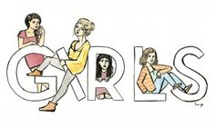The #GIRLS, by kim gee illustration,  ink and watercolor on bristol