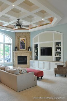 Evolution of Style: Aegean Teal Built-in Bookcases