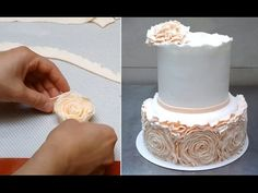 Simple Rose Ruffle Wedding CAKE - HOW TO by CakesStepbyStep - YouTube
