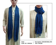 "Colours of the earth: Presenting a stunning blue stole made of naturally dyed eri silk. Fabric Plus proudly associates itself with the practice of ""Natural Dye"" in silk yarns. Whether it be vegetables, fruits or flowers, these colours of the earth are the epitome of beauty for such pieces. Treasure them for yourself or gift them to a loved one, available at our outlets  :) #FabricPlus #AssamSilk #EriSilk #NaturallyDyedEri #EriStole #ColoursOfTheEarth #SilkStole #Weaving #textiles…"