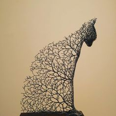 Animal sculptures formed from delicate metallic tree branches by Kang Dong Hyun