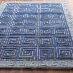 Blue Carved Greek Key Rug
