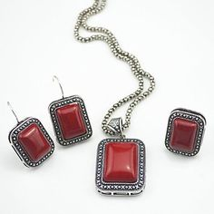 Red Stone Natural Necklace Pendant & Earring & Adjustable Ring per Set Jewlery Set ,Vintage Look,Tibet , wholesaler Jewelry Sets, Jewelry Rings, Women Jewelry, Jewlery, Red Turquoise, Turquoise Stone, Dog Tag Necklace, Stone Necklace, Pendant Earrings