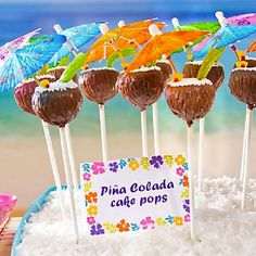 Cool down at your summer luau with these pina colada cake pops