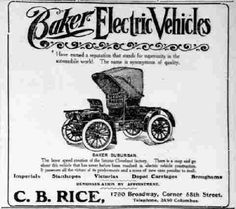 Baker Electric Vehicles ad.