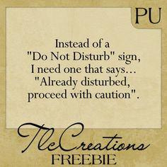 Create with TLC: Tuesday Word Art Freebie..... Do Not Disturb Sign .... hahaha!!