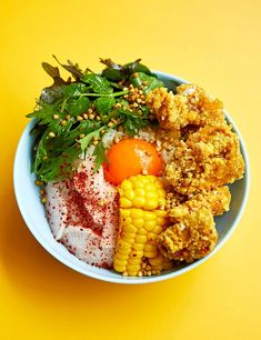 This colourful rice bowl from Dalston restaurant Snackbar is comforting, healthy-ish and full of wonderful textures and flavours: from Japanese crunchy fried chicken and zingy pickles, to a gooey, creamy egg yolk and crispy, earthy buckwheat Healthy Fried Chicken, Chef Recipes, Weekly Recipes, Olive Recipes, Winner Winner Chicken Dinner, Chicken Thigh Recipes, Rice Bowls, Meals For The Week, Food Inspiration