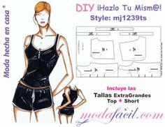 Diy Shorts, Sport Shorts, Pajama Top, Pajama Shorts, Doll Clothes Patterns, Clothing Patterns, Camisa Floral, Babydoll, Diy Fashion